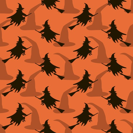 broomsticks: Seamless Halloween pattern of witches flying on broomsticks. Background in black and orange colors Stock Photo