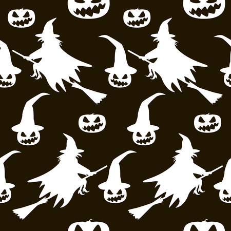 coven: Seamless Halloween pattern of witches flying on broomsticks, evil demonic pumpkins dressed in witch hats. Eerie background in black and white colors Stock Photo