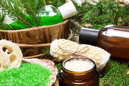 pampering: Spa and pampering products and accessories: sea salt in shell, loofah, wisp of bast, skin care cream, shampoo and shower gel with pumice in wooden basket surrounded by fir branches. Close-up, shallow depth of field
