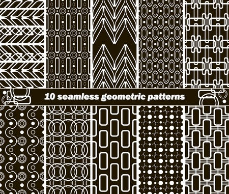 shackle: Set of 10 different seamless abstract geometric black and white patterns. Vector illustration for various creative projects