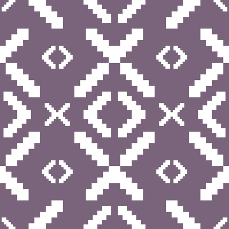 muted: Seamless knitted pattern in muted purple color. Elegant stepped geometric print. Vector illustration for various creative projects