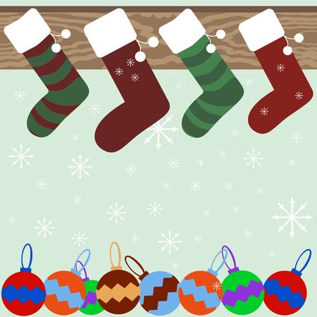mantel: Christmas and New Year festive background of Christmas stockings hanging on mantel, snowflakes and varicolored Christmas balls. Vector illustration