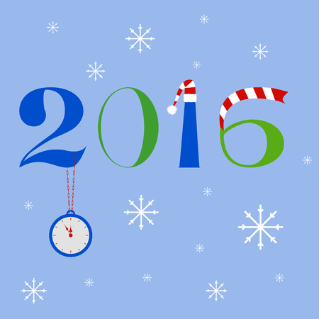 snow chain: New year 2016 text design with clock on a chain, Santa Claus hat and striped scarf