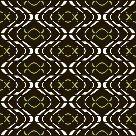 discontinuous: Abstract seamless pattern of discrete wavy lines and candy in wrapper shapes. Geometric print in black, white and green colors. Beautiful contrasting background. Vector illustration