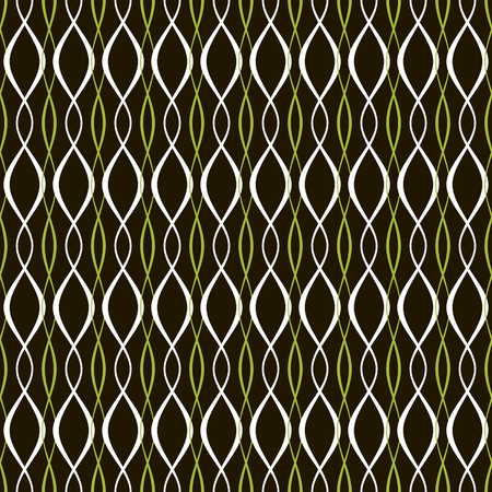 plaited: Elegant abstract seamless pattern of interlacing threads. Black, white, green colors. Beautiful contrasting print. Vector illustration for fashion design Vectores