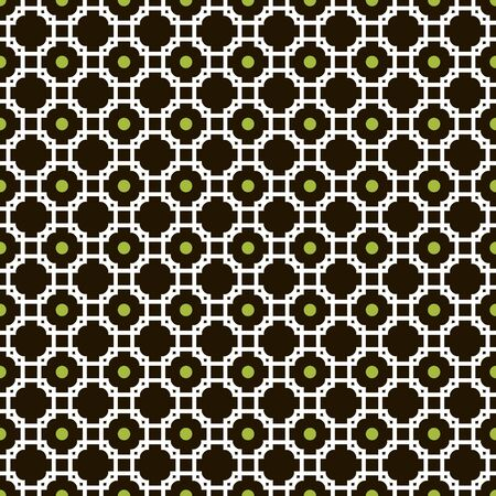 Beautiful elegant seamless pattern of crossed graceful carved frames and circles. Vector illustration in black, white and green colors. Contrasting fashion backdrop