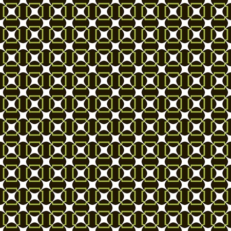 Abstract seamless cancellated pattern of merging stars and graceful frames with rounded corners. Beautiful contrasting background in black, white and green colors. Vector illustration