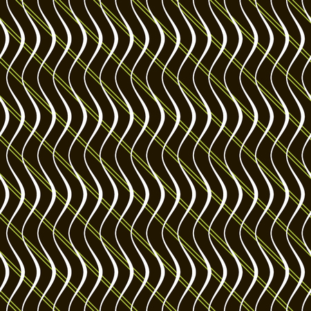 contrasting: Abstract seamless pattern of parallel diagonal straight lines crossed vertical wavy lines. Beautiful contrasting background in black, white and green colors. Vector illustration Illustration