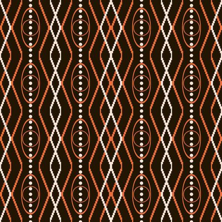 roundish: Seamless pattern with knitted and roundish geometric elements in orange, light beige and black colors. Vector illustration for various creative projects
