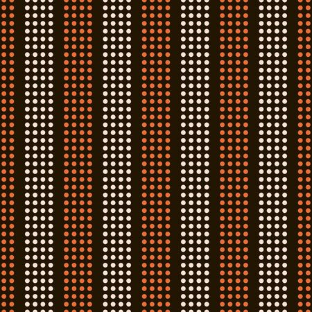 alternating: Abstract seamless pattern of small peas. Vertical alternating stripes of the circles orange and light beige colors on black background. Disco style print. Vector illustration