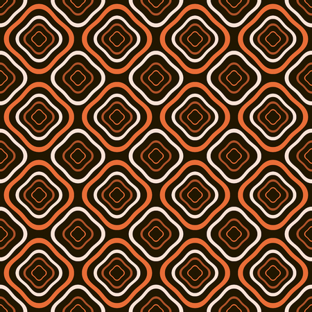 diamond shaped: Abstract seamless pattern of distorted diamond shaped geometric elements with rounded corners one inside the others in orange, light beige and black colors. Vector illustration