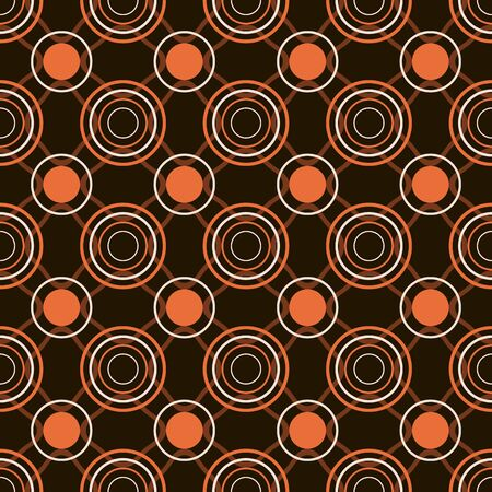 gaudy: Abstract seamless geometric pattern of circles and rings in orange, black and white colors. Bright background in disco style. Vector illustration Illustration