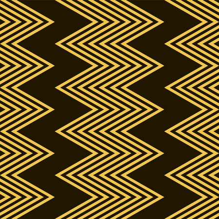 Stylish modern seamless pattern of black and yellow vertical zigzag. Golden zig zag on black background. Vector illustration for beautiful creative design