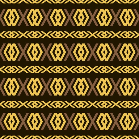 diamond shaped: Seamless pattern of elegant openwork lattice in golden and brown colors on black background. X and diamond shaped figures. Vector illustration for various creative projects Illustration