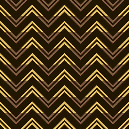 Stylish modern seamless pattern of yellow and brown zigzag on black background. Golden horizontal zig zag. Vector illustration for beautiful creative design