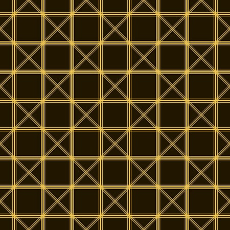 delta cell: Abstract seamless pattern of intersecting lines in black and yellow colors. Overlapping vertical, horizontal and diagonal strips forming cells. Vector illustration for various creative projects Illustration