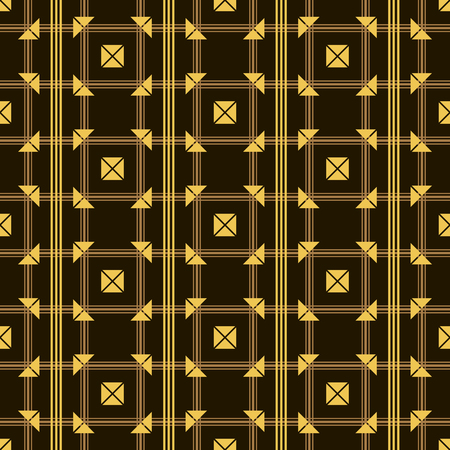 delta cell: Seamless pattern of intersecting lines and envelope shaped elements. Black and golden colors. Stylish modern abstract background. Vector illustration for various creative projects