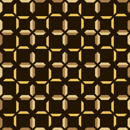 Abstract seamless geometric pattern of trapezoidal shapes forming pluses. Isosceles trapeziums similar to ingots. Vector illustration in yellow, brown and black colors Illustration