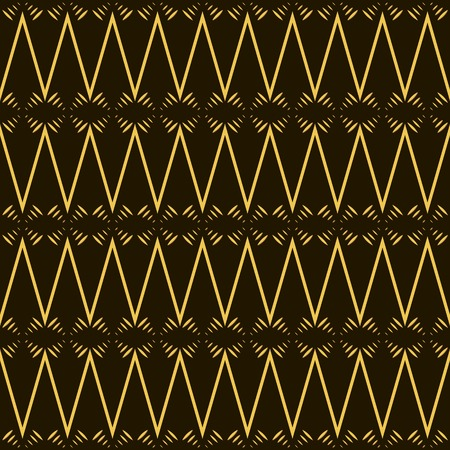 flexure: Beautiful fantasy seamless pattern in yellow, black and brown colors. Golden horizontal zig zag. Vector illustration for stylish creative design