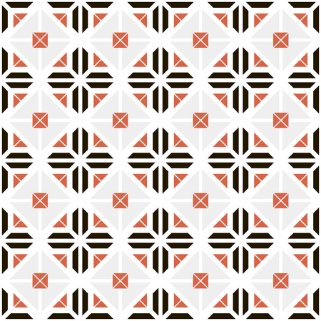 trapezium: Seamless pattern of isosceles trapeziums and envelope shaped elements. White, black, gray and red colors. Stylish modern abstract background. Vector illustration for various creative projects Illustration