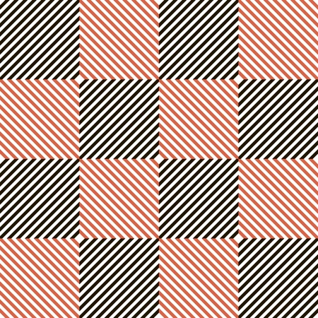 stria: Abstract seamless checkered pattern in black, white and red colors. Diagonal parallel stripes in squares. Vector illustration for various creative projects Illustration