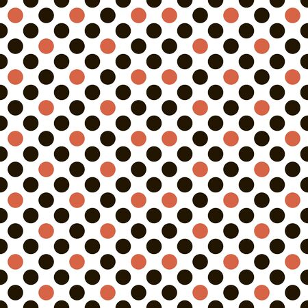 Abstract seamless geometric pattern of black and red circles on white background. Vector illustration for various creative projects