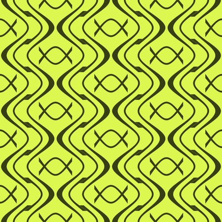 discrete: Elegant abstract seamless pattern of wavy lines and candy in wrapper shapes. Geometric print in green colors. Beautiful contrasting background. Vector illustration
