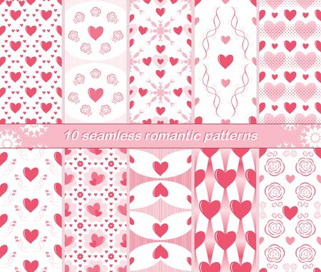 a charming: Set of 10 different seamless romantic patterns. Charming love prints with hearts in white, pink and red colors. Cute Valentine ornaments for beautiful creative design. Vector illustration Illustration
