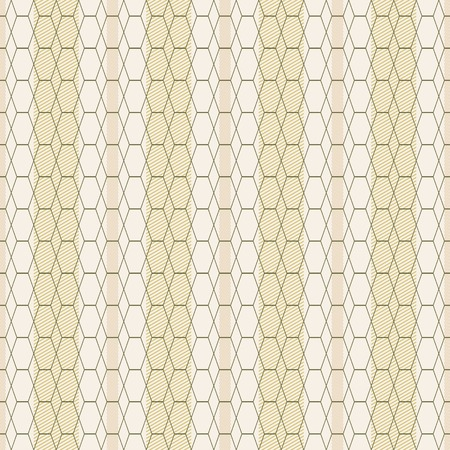 cancellated: Abstract seamless pattern of transparent hexagons and rhombuses on striped background. Thin diagonal lines form background bands. Contrasty cancellated print. Nice warm colors. Vector illustration