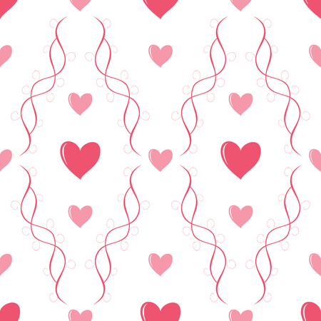 twirls: Beautiful seamless romantic pattern with hearts and graceful twirls. Delicate love print in white, pink and red colors. Vector illustration for Valentines Day or wedding design