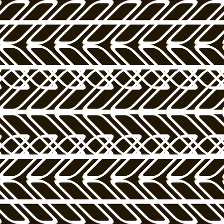 furrow: Stylish modern black and white seamless pattern of superposed tire tracks and ruts. The chain of overlapping geometric elements. Abstract print. Vector illustration for various creative projects Illustration