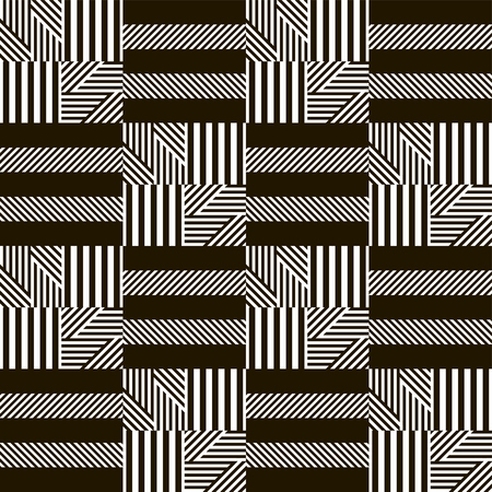 striated: Stylish modern black and white patchwork pattern. Multielement graphic print. Vector illustration for fashionable design Illustration