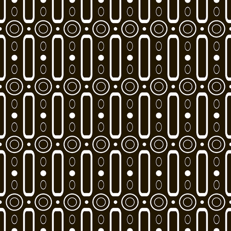 contrasty: Abstract seamless black and white pattern. Circles, rings, rectangular hoops. Stylish contrasty print. Vector illustration for various creative projects Illustration