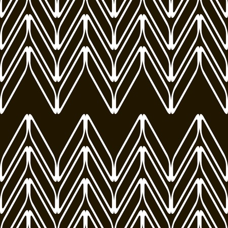 purposeful: Abstract seamless black and white pattern. Chains of geometric shapes forming vertical pointers. Vector illustration for stylish modern design