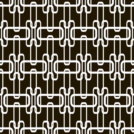 hoops: Stylish modern black and white seamless pattern of superposed rectangular hoops. Tangled chain of overlapping geometric elements. Abstract print. Vector illustration for various creative projects