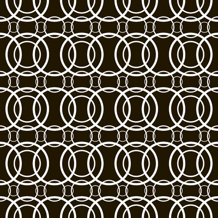 sized: Stylish modern black and white seamless pattern of superposed hoops. Chains of overlapping different sized rings. Abstract print. Vector illustration for various creative projects Illustration