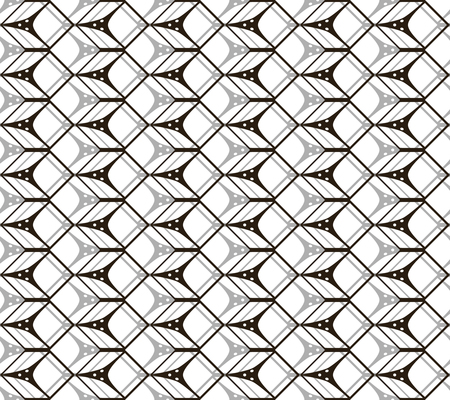 Abstract seamless pattern of cubic forms in black, white, gray colors. Stylish contrasty print. Vector illustration for various creative projects