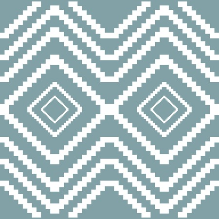 diamond shaped: Seamless knitted pattern. Stair step frames of decreasing sizes placed one inside another forming elegant geometric print. Diamond shaped ornament with zigzag elements. Vector illustration Illustration