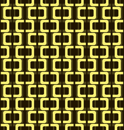 hoops: Seamless pattern of open hoops. Rectangles with rounded corners divided in the middle. High contrast figures on the background of low contrast ones. Black and yellow colors. Vector illustration