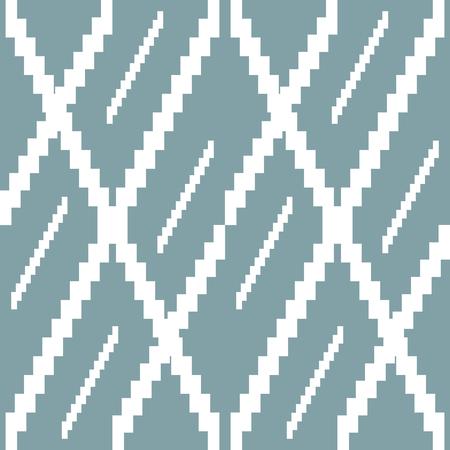 Naadloos gebreide patroon in wit en gedempte blauwe kleuren. Traptrede strepen vormen bizarre geometrische versiering. Vector illustratie voor diverse creatieve projecten Vector Illustratie