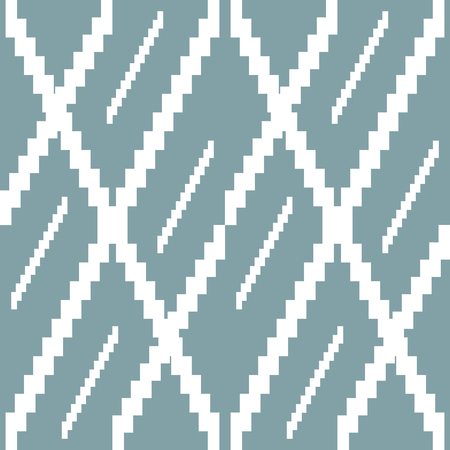 Seamless knitted pattern in white and muted blue colors. Stair step stripes form bizarre geometric ornament. Vector illustration for various creative projects