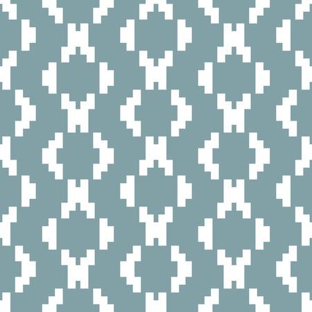 maglia seamless in bianco e tenui colori blu. stampa geometrica elegante di elementi gradino. A forma di diamante ornamento. Illustrazione vettoriale per progetti creativi Vaus Vettoriali