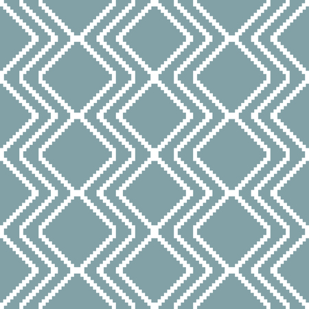 diamond shaped: Seamless knitted pattern in white and muted blue colors. Stair step vertical zigzag forms diamond shaped ornament. Elegant geometric print. Vector illustration for various creative projects