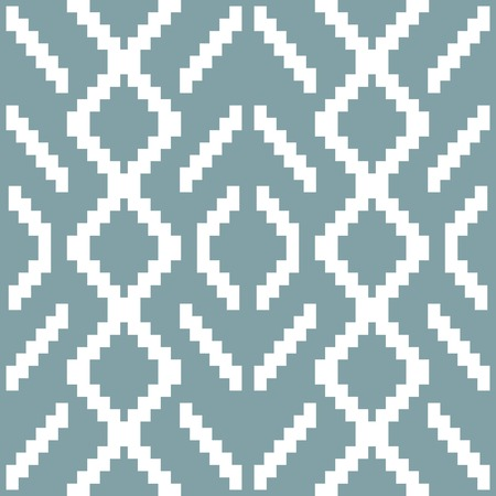 diamond shaped: Seamless knitted pattern in white and muted blue colors. Elegant geometric print of stair step elements. Diamond shaped ornament. Vector illustration for various creative projects Illustration