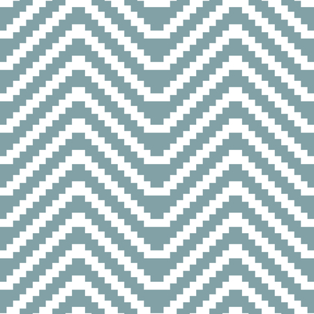 muted: Seamless knitted pattern in white and muted blue colors. Stair step horizontal large zigzag. Elegant geometric print. Vector illustration for various creative projects