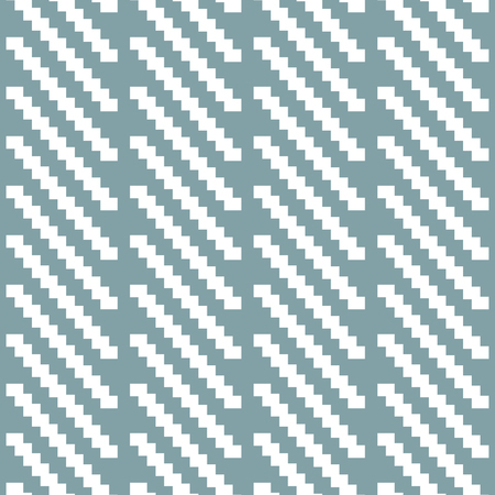 ribbed: Seamless pattern of stair step diagonal segments. Elegant knitted pattern in white and muted blue colors. Stylish contrasting geometric print of short strips. Vector illustration