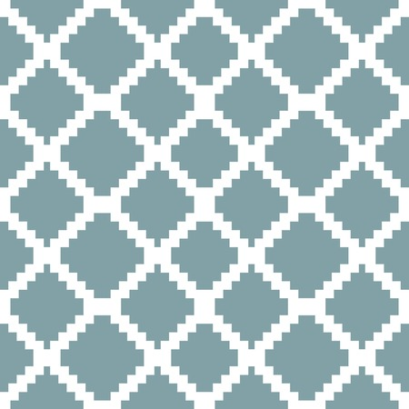 diamond shaped: Seamless knitted pattern in white and muted blue colors. Stair step stripes form elegant geometric checkered ornament. Diamond shaped cells. Vector illustration for various creative projects