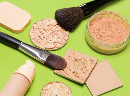flaws: Makeup products to even out skin tone and complexion.