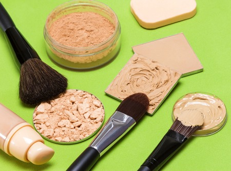 concealer: Cosmetics and accessories to create the perfect skin tone and complexion: correcting, compact and loose cosmetic powders, concealer, liquid foundation, makeup brushes, cosmetic sponge