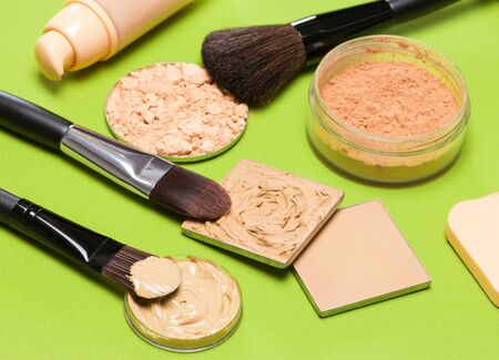 complexion: Cosmetics and accessories to create the perfect skin tone and complexion: correcting, compact and loose cosmetic powders, concealer, liquid foundation, makeup brushes, cosmetic sponge